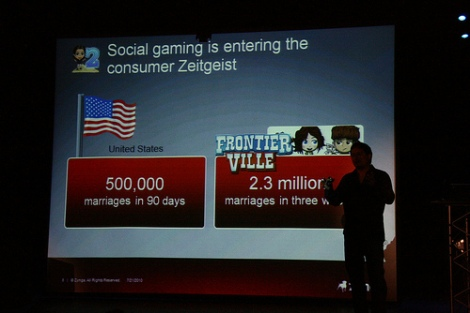Steve Chiang of Zynga talks about the scale of games such as Frontierville by comparing the number of marriages