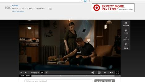 Bones is wearing a dress from Target, which happens to be the banner ad in the corner.