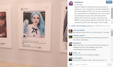 Doedeere on Instagram says she is okay with having Prince use her photo for his artwork.